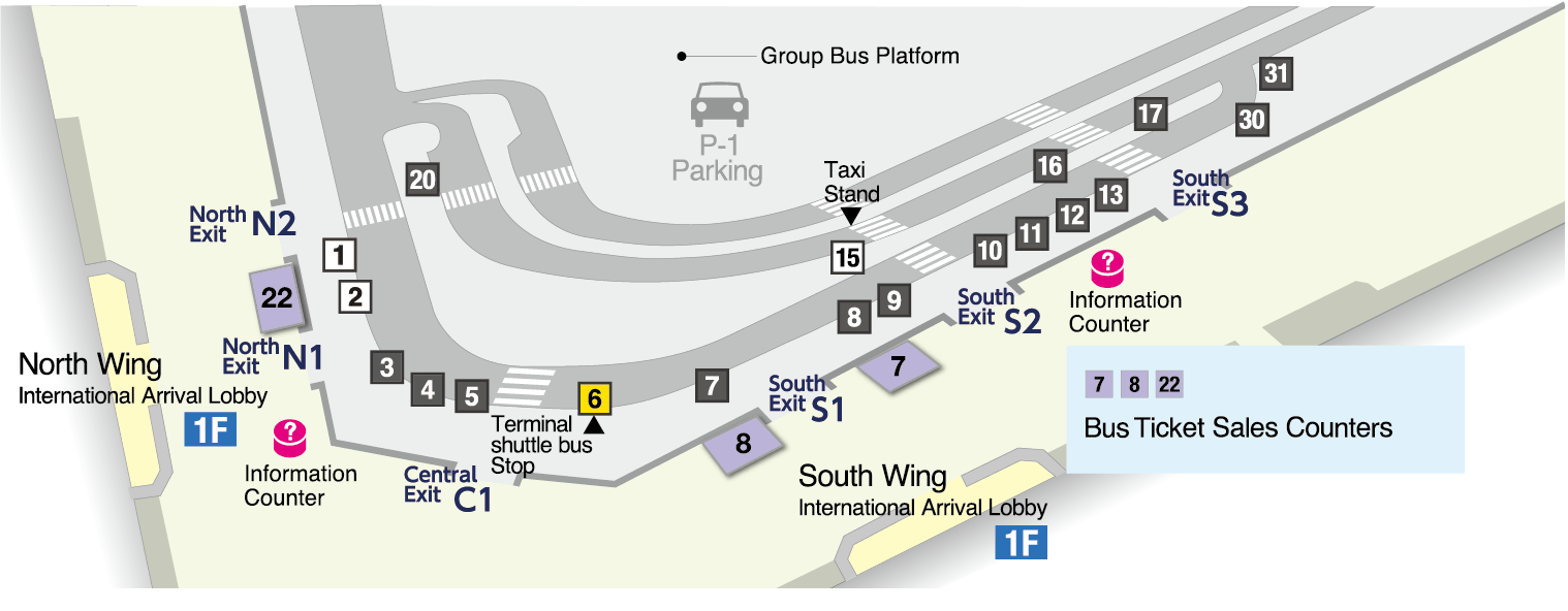 Map of terminal shuttle bus stops on the 1st floor of Terminal 1.