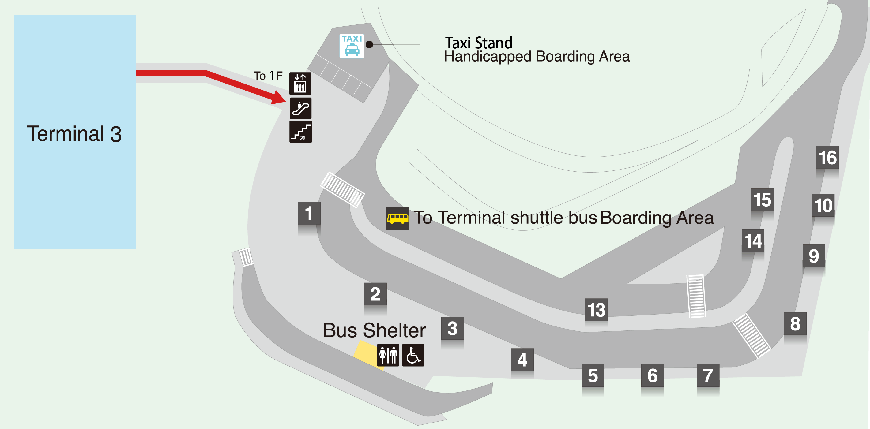 Map of taxi stands at Terminal 3.