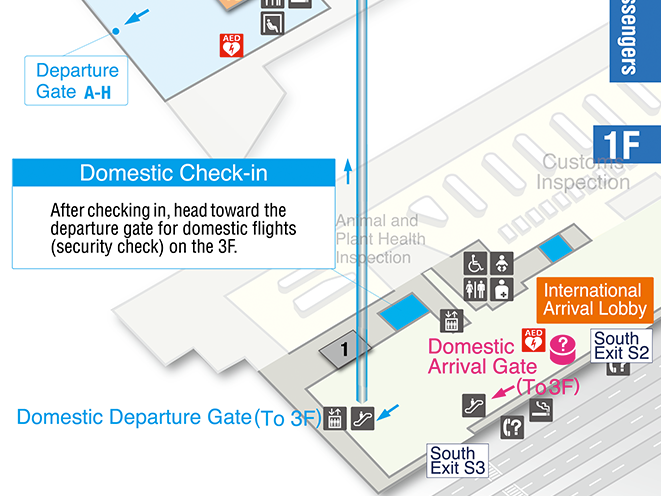 Peach Terminal 1  domestic check-in counter area map