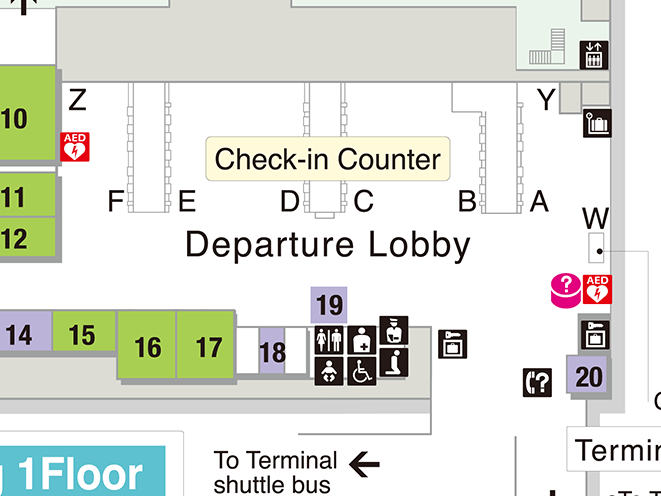 SPRING JAPAN Terminal 3 international check-in counter area map