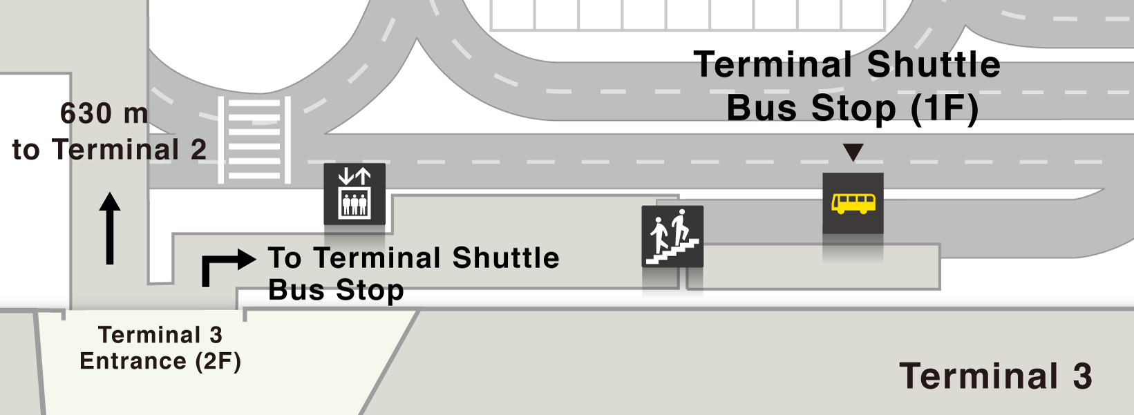 Map of terminal shuttle bus stops on the 1st floor of Terminal 3.