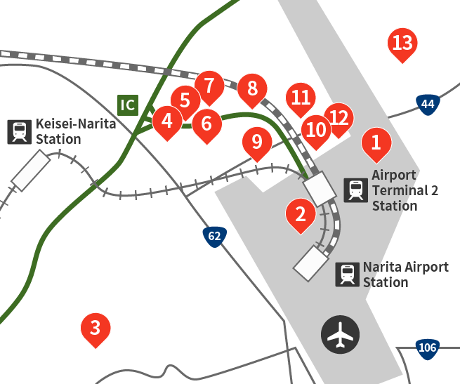 Map of hotels in and around the airport