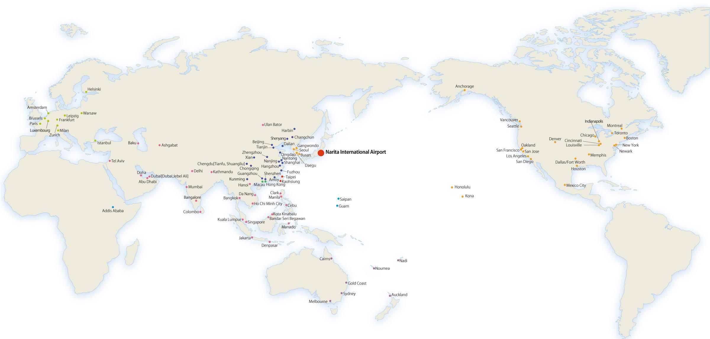 List of Cities | Narita International Airport Websaite